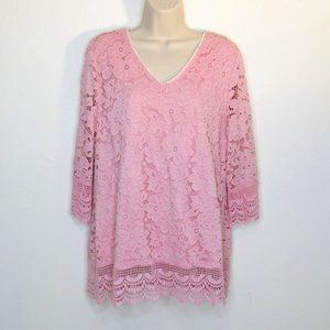 Investments Women's Solid Lace Pink Floral Blouse